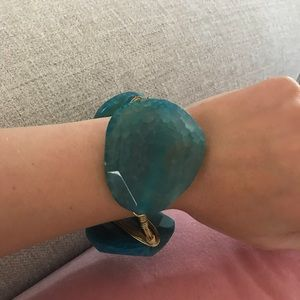 Bourbon and bowties blue turquoise stone bangle